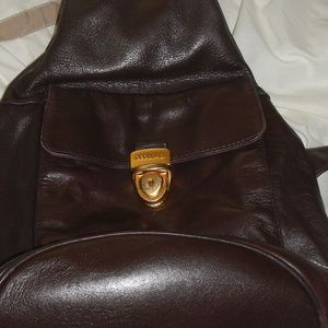 Perlina Brown Leather Slingback Bag